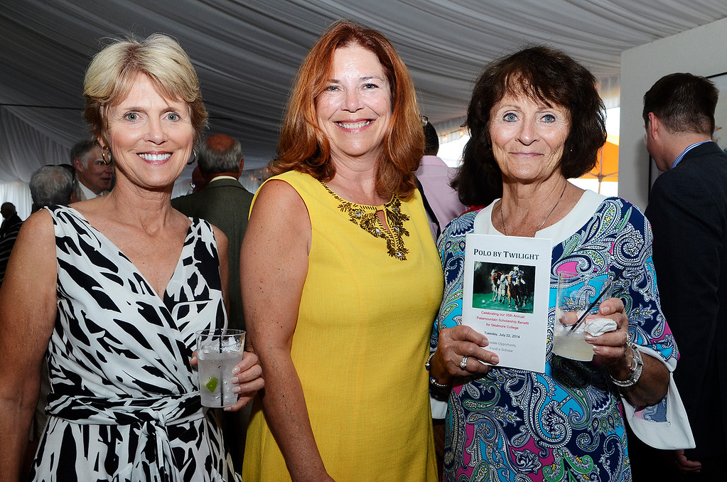 Description of . Erica Miller @togianphotog - The Saratogian:     Tuesday evening at the Saratoga Polo Field grounds Skidmore held the Palamountain Scholarship Benefit Dinner. In attendance were (l-r) Bonnie Walmsley, Cindy Spence and Mary Mastropietro.