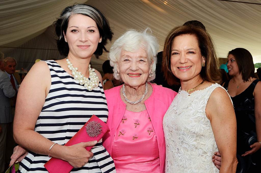 Description of . Erica Miller @togianphotog - The Saratogian:     Tuesday evening at the Saratoga Polo Field grounds Skidmore held the Palamountain Scholarship Benefit Dinner. In attendance were (l-r) Co-chair Sarah Hallberg Boivin '96, Anne Palamountain and Co-chair Donene D. Honnold.