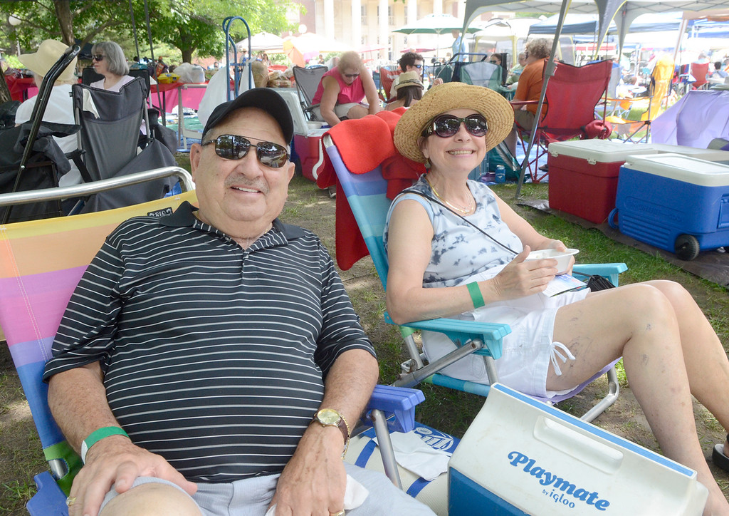 Description of . Ed Burke - The Saratogian 06/28/14 Vincent Trichilo and Fran Valentine of Saratoga Springs relax Saturday during Freihofer's Saratoga Jazz Festival at SPAC.