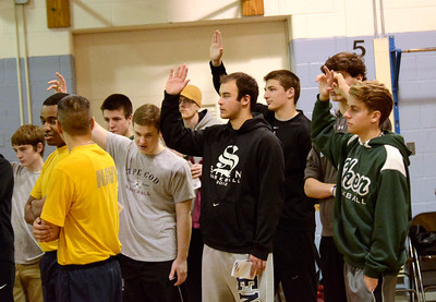 Ed Burke - The Saratogian 01/18/14 Student volunteers raise their hands Saturday at Okte Elementary School in Clifton Park during a ceremony partnering the U.S. Navy with SAFE. Sports Are For Everyone (SAFE) was founded in 1992 by Jim Fitzgerald to ensure those with special needs were able to participate in sports and build friendships and self-confidence.
