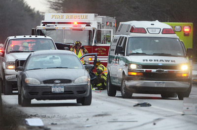Erica Miller @togianphotog	- The Saratogian,   A three car accident occurred on I-87 Southbound just past exit 16. Alleged a car was pulled off the side of the road, with a truck assisting the disabled vehicle. A trooper pulled over to assist with the safety. A AAA tow truck allegedly side swiped the troopers car and the red vehicle, spinning it into a ditch, later the tow truck stopped in a ditch hitting a tree, striking it enough to tip over. Greenfield, Wilton and SGF Fire Departments, Wilton EMS and Mohawk were on scene with Troopers and Investigators. Details were not available at time, but heard minor injuries. Two right side lanes were closed.