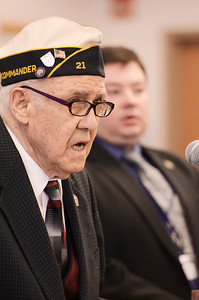 """Erica Miller @togianphotog - The Saratogian:   At the Saratoga County Board of Supervisors Veteran Chris Sgamboti sung Amazing Grace during the honoring ceremony for their father Joseph Kalinkewicz at the Saratoga County """"Honoring Our Deceased Veterans"""" Ceremony held monthly."""