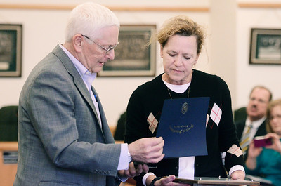 """Erica Miller @togianphotog - The Saratogian:   Saratoga County Board of Supervisors Chairman Paul Sausville gave Melody Brown, daughter, a proclamation during the honoring ceremony for their father Joseph Kalinkewicz at the Saratoga County """"Honoring Our Deceased Veterans"""" Ceremony held monthly."""