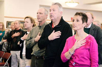 """Erica Miller @togianphotog - The Saratogian:   Members of the Kalinkewicz family stood reciting the pledge of allegiance during the honoring ceremony for their father Joseph Kalinkewicz at the Saratoga County """"Honoring Our Deceased Veterans"""" Ceremony held monthly."""