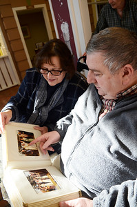 Erica Miller @togianphotog - The Saratogian: 2/25/14    At the Beacon Pointe Memory Care Community in Clifton Park, father John Henry of St. George's Episcopal Church was honored to renew wedding vows with three couples. Randy and Cheryl Guthier, Randy a resident, celebrated 40 years of marriage this year - last week, glancing through their wedding album.