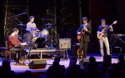 "Ed Burke - The Saratogian 11/22/13 Skidmore music students The Covell Collective perform ""Till There Was You"" during Friday's annual Beatlemore Skidmania concert which raises money for Skidmore Cares, a campus wide organization which raises funds for area community help organizations. This year's concert celebrated the 50th anniversary of Beatlemania and featured songs released by the Beatles in 1963."