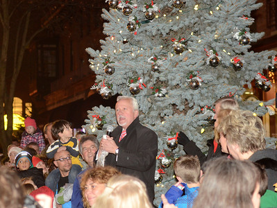 Ed Burke - The Saratogian 12/5/13 Mayor Scott Johnson presides over the lighting of the Christmas trees during Thursday's Victorian Streetwalk in downtown Saratoga Springs.