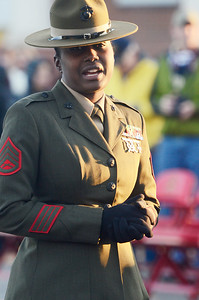 Erica Miller @togianphotog - The Saratogian:     On Parris Island, Staff Sgt. Cheryle Milton Sat the educators before the start of the Color Guards ceremony, for the raising of the colors with the Parris Island Marine Corp Band on Friday  February 14th, 2014.