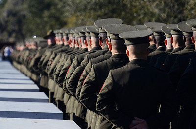 Erica Miller @togianphotog - The Saratogian:     In Parris Island at the Recruit Training Regiment Marine Corps Recruit Depot, as recruits wait in formation for the parade before they march on in front of their family and friends for graduation day on Friday  February 14th, 2014.