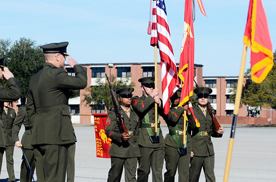 Erica Miller @togianphotog - The Saratogian:     In Parris Island at the Recruit Training Regiment Marine Corps Recruit Depot, as color guards march to be saluted on graduation day on Friday  February 14th, 2014.