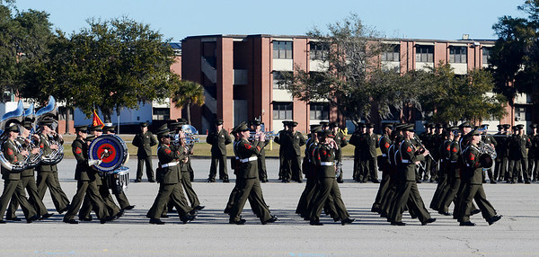 Erica Miller @togianphotog - The Saratogian:     In Parris Island at the Recruit Training Regiment Marine Corps Recruit Depot, Parris Island's Marine Band performed  for graduation day on Friday  February 14th, 2014.