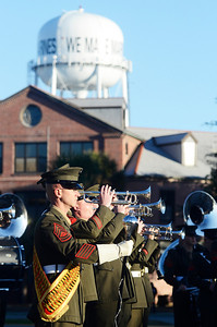 Erica Miller @togianphotog - The Saratogian:     On Parris Island the Color Guards ceremony, for the raising of the colors with the Parris Island Marine Corp Band on Friday  February 14th, 2014.