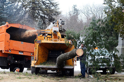 Erica Miller @togianphotog - The Saratogian:   A joint project with the City of Saratoga Springs and Saratoga Springs Preservation Foundation for the Spirit of Life and Spencer Trask Memorial Restoration in Congress Park began this week. Saratoga Springs DPW and members from Tom Mullan Tree and Stump Removal worked on removing decaying trees.