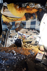 Erica Miller @togianphotog - The Saratogian     A fire broke out on Wednesday late afternoon  at 335 Grand Ave in Saratoga Springs. The fire started in the bedroom, at the far end of the house, according to Saratoga Springs Fire Department Assistant Chief Pete Shaw. The fire was accidental, started when a lamp was tipped over. One lady was the resident of the home Shaw mentioned. She was treated by the EMS but was not sent to the Saratoga Hospital. No animals were in the home, but the condition of the home was too poor to reside in. The Windows were boarded up on Thursday afternoon.SAR-l-GrandAveFire13