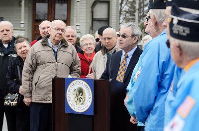 Erica Miller @togianphotog - The Saratogian:  On Friday April 4th, 2014, the city of Saratoga Springs dedicated the late Ray Waldron with a street sign replacing Pleasant Street to Coach Waldron Way. Saratoga Springs DPW Commissioner Skip Scirocco spoke before they revealed the new sign.