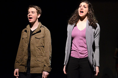 """Erica Miller @togianphotog - The Saratogian:   The Saratoga Spring High School held a dress rehearsal for their upcoming play Footloose. Lead actor playing  Ren was Noah Casner with his """"mother"""" Ethel, played by Lila Glansberg, on stage during rehearsal."""