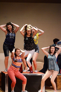 Erica Miller @togianphotog - The Saratogian:   The Saratoga Spring High School held a dress rehearsal for their upcoming play Footloose. Lead actor playing Ariel played by Izzi Cavotta on stage during rehearsal.
