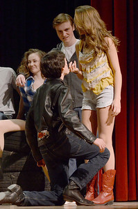 """Erica Miller @togianphotog - The Saratogian:   The Saratoga Spring High School held a dress rehearsal for their upcoming play Footloose. Lead actor playing Ariel played by Izzi Cavotta and her """"boyfriend"""" Chuck played by Liam McKenna on stage during rehearsal."""