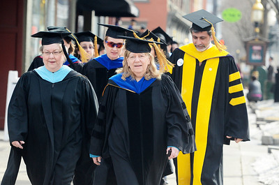 Erica Miller @togianphotog - The Saratogian:  in Saratoga Springs, everyone was in their college robs for the procession down Broadway for the inauguration of Merodie A. Hancock, Ph.D., as the fourth President of Empire State College.