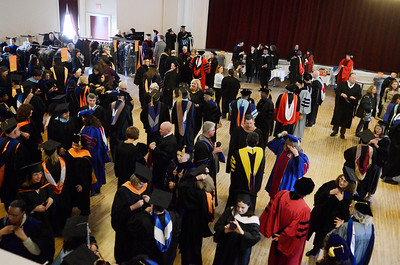 Erica Miller @togianphotog - The Saratogian:  At the Saratoga Springs City Hall's Music Hall, robbing took place before the procession down Broadway for the inauguration of Merodie A. Hancock, Ph.D., as the fourth President of Empire State College.