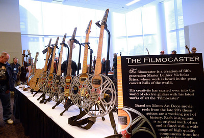 Ed Burke - The Saratogian 03/29/14 Filmocaster guitars created by Nicholas Frirsz of Greenfield on display Saturday at the Northeast Woodworkers Association's Showcase at the Saratoga Springs City Center. The show continues Sunday.