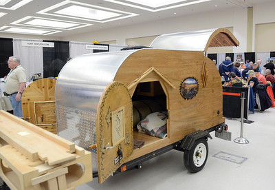 Ed Burke - The Saratogian 03/29/14 A wood-sided camper on display at the Northeast Woodworkers Association's Showcase at the Saratoga Springs City Center. The show continues Sunday.
