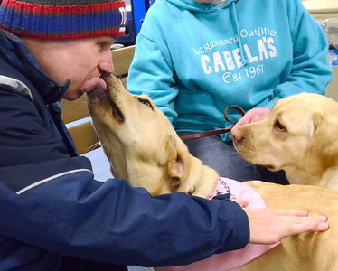 Ed Burke - The Saratogian 03/29/14 Ben Thomas of Ballston Spa gets a kiss from a therapy dog during the Saratoga Ice Stars program Saturday at Saratoga Springs Ice Rink. The program, which is over 15 years old, is run by the Saratoga Springs Lions Club and gets physically challenged youths and adults on the ice to enjoy skating.