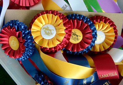 Ed Burke - The Saratogian 04/30/14 A rainbow of ribbons wait to be awarded to riders competing in the Saratoga Springs Horse Show.