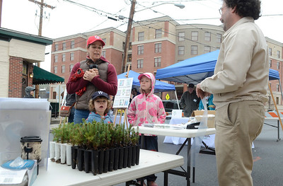 Ed Burke - The Saratogian 04/26/14 Saratoga Tree Nursery manager David Lee tells Jen Horn and daughter Ella and son Franklin about the red and white spruce seedlings he was handing out during Saturday's Tree Toga event on Henry St. Both species are native to New York state.
