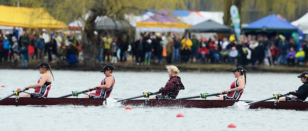 Erica Miller @togianphotog - The Saratogian:    On Saturday April 26th, 2014, on Saratoga Lake, Saratoga Rowing Association held the Saratoga Invitational as Burnt Hills- Ballston Lake made it through on the 38th race Women's Varisty 8+.