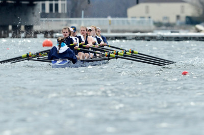 Erica Miller @togianphotog - The Saratogian:    On Sunday April 27th, 2014, on Saratoga Lake, Saratoga Rowing Association held the Saratoga Invitational as Saratoga's made it through on the Race 78b in the Women's 3v-4v-5v Eight.