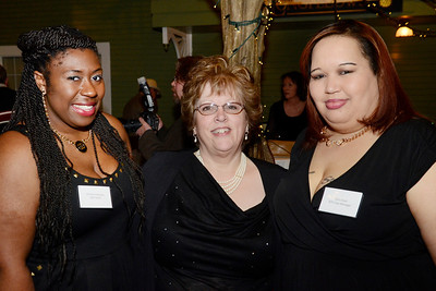 From left: Skidmore student and SOS intern Christina Samuels, House Manager Bonnie Potter and Case Manager Shirl Lloyd attend the Shelters of Saratoga gala Thursday at Longfellows Restaurant.