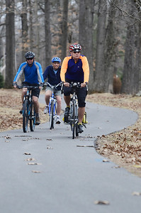 Erica Miller @togianphotog - The Saratogian:  On Friday afternoon, April 11th, 2014, in Saratoga Springs Dan Lynch (front to back), Jeff Olson and Wally Elton biked down the State Park Trail.
