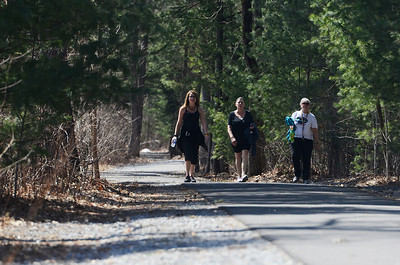 Erica Miller @togianphotog - The Saratogian:  On Friday morning, April 11th, 2014, in Saratoga Springs the LiveStrong Cancer survivor ladies (l-r) Tracy Gutermuth, Ginny Dambrogio and Mary Shimp walked the Railroad Run Trail before heading to a class at the YMCA.