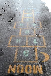 Ed Burke - The Saratogian 03/12/14 Freezing slush covers the Hop Scotch game at East Side Rec Park during Wednesday's storm.