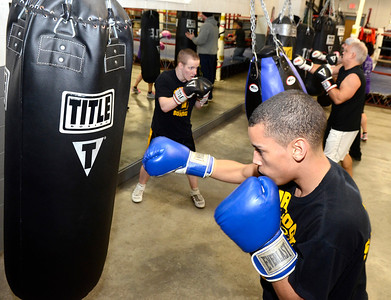 Ed Burke - The Saratogian 01/22/14 Saratoga Youth Boxing Association members Dorsett Narnado of South Glens Falls , front, and Lucas LaPlanche of Saratoga Springs work out Wednesday night.