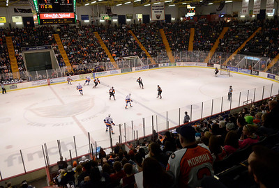 Ed Burke - The Saratogian 04/18/14 The Bridgeport Sound face off against the Adirondack Phantoms in front of a standing room only crowd at the Glens Falls Civic Center Friday night. It was the Phanton's last game at the Civic Center.
