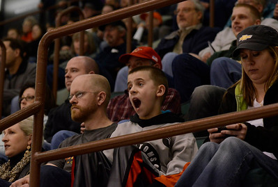 Ed Burke - The Saratogian 04/18/14 Fans react as the Bridgeport Sound face off against the Adirondack Phantoms in front of a standing room only crowd at the Glens Falls Civic Center Friday night. It was the Phanton's last game at the Civic Center.