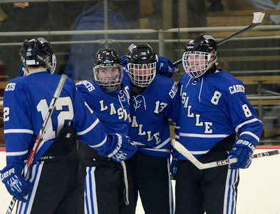 Ed Burke - The Saratogian 01/22/14  La Salle's Joe O'Bryan, second from left, celebrates with teammates after scoing a goal in the 2nd period over Saratoga Wednesday.