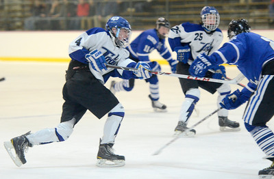 Ed Burke - The Saratogian 01/22/14 Saratoga's Jack Rittenhouse hits the post on this shot during Wednesday's game  against La Salle in Saratoga. Teammate Grayson Rieder picked up the rebound and scored for the Blue Straks on the play.