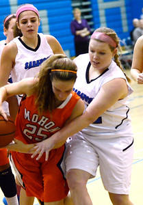 Ed Burke - The Saratogian 01/23/14 Saratoga's Bailey Motala pressures Mohonasen's Grace Wyanski during Thursday's girls' varsity basketball matchup at Saratoga.