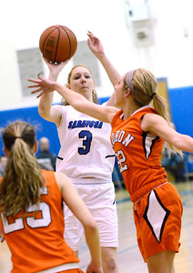 Ed Burke - The Saratogian 01/23/14 Saratoga's Camryn David shoots over Mohonasen's Maddie Egan during Thursday's girls' varsity basketball matchup at Saratoga.