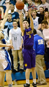 Ed Burke - The Saratogian 02/11/14 Ballston Spa's Andrew Gentile gets three for the Scotties from outside during Tuesday's game at Saratoga.