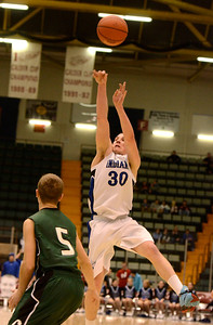 Ed Burke - The Saratogian 02/26/14 Hoosic's Mike Pierre launches one from outside during Wednesday's Class C semi-final in Glens Falls.