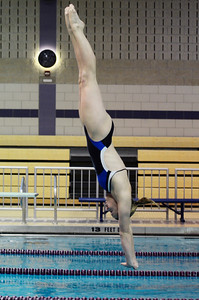 Erica Miller @togianphotog - The Saratogian    	The Ballston Spa Swimming and Diving team had 5 girls that will be competing in the State Finals in Ithaca this weekend. Senior Addison Walkowiak worked on her dives in the pool on Thursday 11/20/13.   SAR-l-BspaSwim7