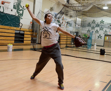 Ed Burke - The Saratogian 04/02/14 Greenwich's Jessica James practices with the team Wednesday in the school's gym.