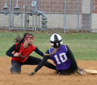 Ed Burke - The Saratogian 04/23/14 Ballston's Payton Witalec is safe at second as Guilderland's Tori Greco covers during Wednesday's game at Ballston Spa.
