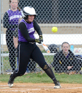 Ed Burke - The Saratogian 04/23/14 Ballston's Payton Witalec gets a base hit against Guilderland during Wednesday's game at Ballston Spa.
