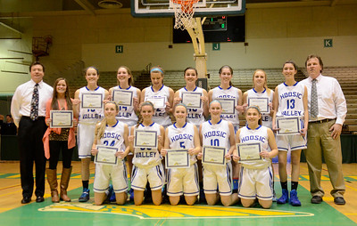 Ed Burke - The Saratogian 03/08/14 Hoosic Valley girls after their Class C regional win Saturday in Troy.