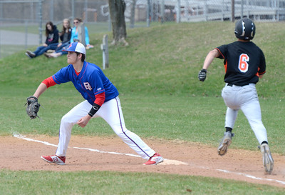 Ed Burke - The Saratogian 04/19/14  Broadalbin-Peth's Tyler Graham gets the out at first on Schuylerville's Zack Van Keuron during Saturday's game at Schuylerville.